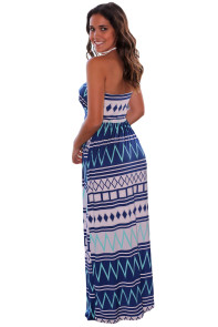 Navy Geometric Strapless Maxi Dress with Pockets