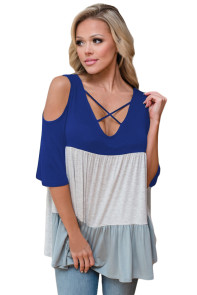 Blue Color Block Criss Cross V Neck Cold Shoulder Top