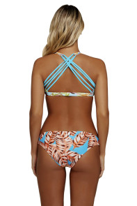 Vibrant Print Strappy Crop Top 2pcs Bathing Suit