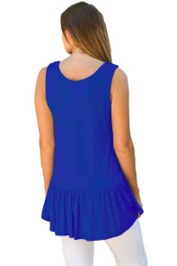 Cute Pleated Hemline Royal Blue Tank Top