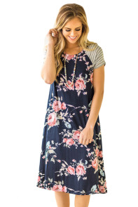 Navy Blue Backdrop Floral Print A-line Loose T-shirt Dress