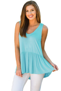 Cute Pleated Hemline Light Green Tank Top