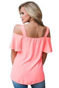Pink Open Shoulder Ruffle Sleeve Asymmetric Hem Top
