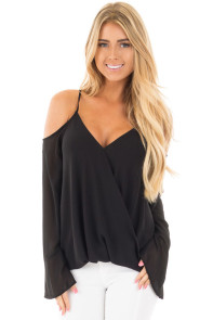 Black Cold Shoulder Overlap V Neck Long Sleeve Top