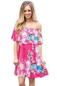 Ruffle Off Shoulder Rosy Floral Mini Dress