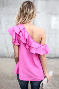 Rosy One Sided Ruffle Top