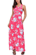 Fuchsia Floral Print Sleeveless Long Boho Dress