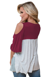 Wine Color Block Criss Cross V Neck Cold Shoulder Top