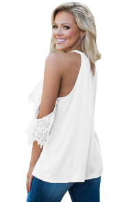 White Lace Detail Oversleeve Tank Top