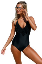 Black Lace Ruffle One Piece Swimsuit