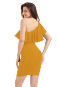 Yellow One Shoulder Party Cocktail Mini Dress