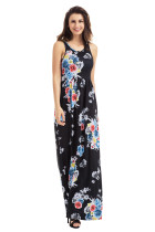 Black Floral Print Sleeveless Long Boho Dress