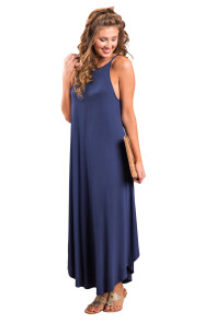 Blue Sexy Chic Sleeveless Asymmetric Trim Maxi Dress