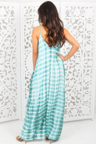 Mint Tie Dye Print Boho Pocketed Maxi Dress