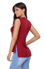 Wine Red Crisscross V Neck Printed Sleeveless Choker Tank Tops