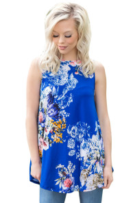 Royal Blue Floral Print High Neck Tank Top