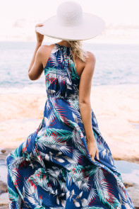 Blue Tropical Leaf Print Sexy V Neck Maxi Dress