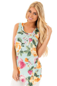 Baby Blue Floral Asymmetric Button Detail Tank Top