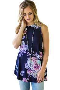 Navy Blue Floral Print High Neck Tank Top