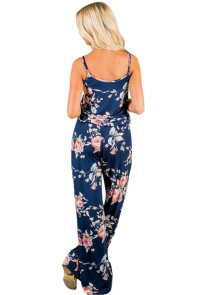 Floral Wide Leg Jumpsuit in Blue