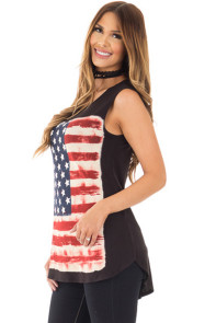 American Flag Print Black Relaxed Tank Top