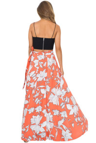 Orange White Floral Maxi Skirt with Split