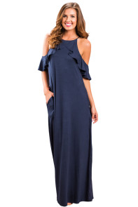 Navy Blue Ruffle Sleeve Cold Shoulder Maxi Dress