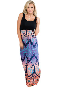 Orange Purple Aqua Print Sleeveless Long Boho Dress