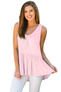 Cute Pleated Hemline Light Pink Tank Top