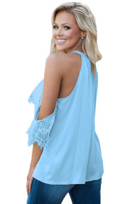 Blue Lace Detail Oversleeve Tank Top