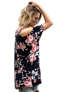 Pink Floral Print Black Background Womens Top