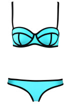Black Ribbon Textured Cyan 2pcs Bikini Swimsuit