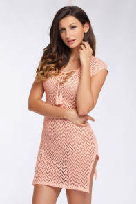 Pink V Neck Lace up Cover up Dress