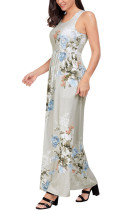 Taupe Floral Print Sleeveless Long Boho Dress