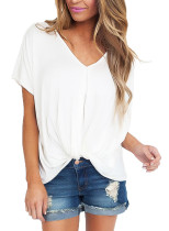 White Draped Front Knot Top