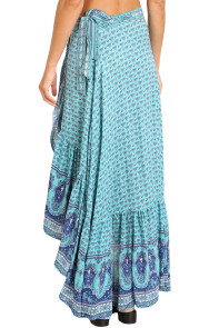Blue Gypsy Style Print Sarong Beach Dress