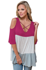 Rosy Color Block Criss Cross V Neck Cold Shoulder Top