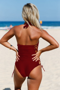 Purplish Red Lace up Side Accent Open Back One-piece Swimsuit
