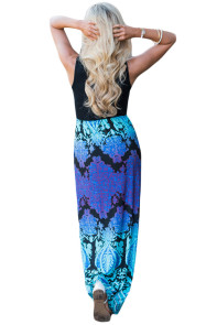 Blue Purple Aqua Print Sleeveless Long Boho Dress
