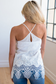 White Embroidered Lace Detailed Trim Tank