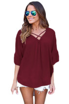 Wine Red Criss Cross Loose Fit Top