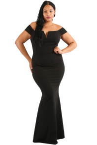 Black Plus Size Sheer Sleeve Column Dress