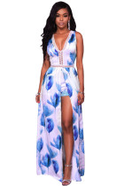 Blue White Flowers Print Backless Short Jumpsuit with Maxi Overlay
