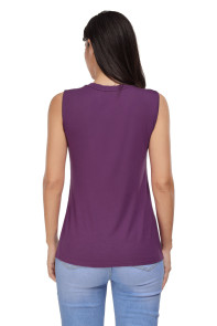 Purple Crisscross V Neck Printed Sleeveless Choker Tank Tops