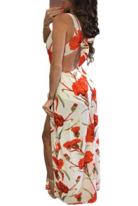 Fiery Floral Print Knot Back Sleeveless Romper Dress