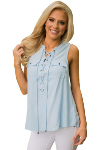 Light Blue Sleeveless Tank Top with Lace up