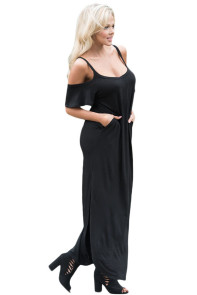 Black Sassy Open Shoulder Maxi Dress