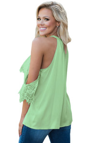 Mint Lace Detail Oversleeve Tank Top