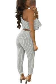 Grey Striped Ruffle Top and Pant Set