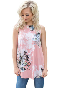 Pink Floral Print High Neck Tank Top